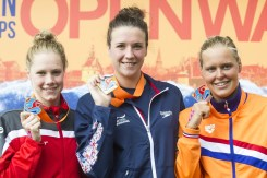 Podium - HUSKISSON Danielle GBR gold medal, WUNRAM Finnia GER silver medal, VAN ROUWENDAAL Sharon NED bronze medal Hoorn, Netherlands LEN 2016 European Open Water Swimming Championships Open Water Swimming Women's 5km Day 02 12-07-2016 Photo Giorgio Perottino/Deepbluemedia/Insidefoto