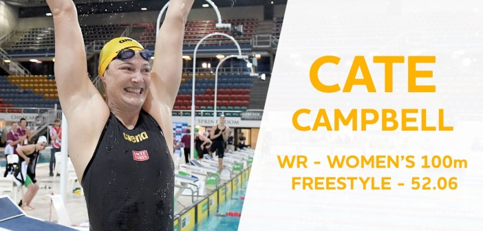 Cate Campbell (AUS) 52.06 and a new 100 Free World Record