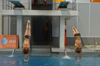 KNOXVILLE, TN - August 5, 2014: Synchro Young/Casillas during the 2014 USA Diving Age Group and Junior National Event at Allan Jones Aquatic Center in Knoxville, TN. Photo By Matthew S. DeMaria