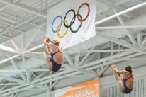 KNOXVILLE, TN - August 5, 2014: Synchro Pospichal/Wiese during the 2014 USA Diving Age Group and Junior National Event at Allan Jones Aquatic Center in Knoxville, TN. Photo By Matthew S. DeMaria