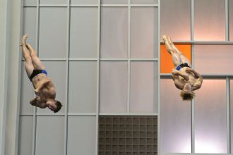 KNOXVILLE, TN - August 5, 2014: Synchro Shelton/Butcher during the 2014 USA Diving Age Group and Junior National Event at Allan Jones Aquatic Center in Knoxville, TN. Photo By Matthew S. DeMaria