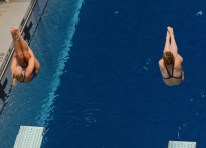 KNOXVILLE, TN - August 5, 2014: Synchro Bacon/Schiltz during the 2014 USA Diving Age Group and Junior National Event at Allan Jones Aquatic Center in Knoxville, TN. Photo By Matthew S. DeMaria