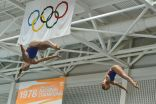 KNOXVILLE, TN - August 5, 2014: Synchro Gibson/Schnell during the 2014 USA Diving Age Group and Junior National Event at Allan Jones Aquatic Center in Knoxville, TN. Photo By Matthew S. DeMaria