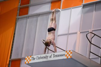 KNOXVILLE, TN - July 31, 2014: Collin Larson dives of the Platforms during the 2014 USA Diving Age Group and Junior National Event at Allan Jones Aquatic Center in Knoxville, TN. Photo By Matthew S. DeMaria