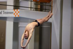 KNOXVILLE, TN - July 31, 2014: Kevin Pomeroy dives of the Platforms during the 2014 USA Diving Age Group and Junior National Event at Allan Jones Aquatic Center in Knoxville, TN. Photo By Matthew S. DeMaria