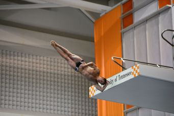 KNOXVILLE, TN - July 31, 2014: Lee Christensen dives of the Platforms during the 2014 USA Diving Age Group and Junior National Event at Allan Jones Aquatic Center in Knoxville, TN. Photo By Matthew S. DeMaria