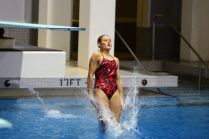 KNOXVILLE, TN - July 31, 2014: Mikayla Martin dives from the 1 meter springboard during the 2014 USA Diving Age Group and Junior National Event at Allan Jones Aquatic Center in Knoxville, TN. Photo By Matthew S. DeMaria