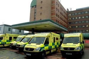 SWA/MIKE LEWIS....20.10.08 REPORTER AMBULANCES OUTSIDE THE ACCIDENT AND EMERGENCY DEPARTMENT AT THE ROYAL GWENT HOSPITAL