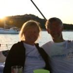 Mamma og pappa i solnedgang