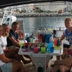Besøk av kollegaer fra Nordic. Paul, Hanne og Eirik fra Zero ble invitert over på frokost da de slapp anker utenfor Anfi. Super trivlig