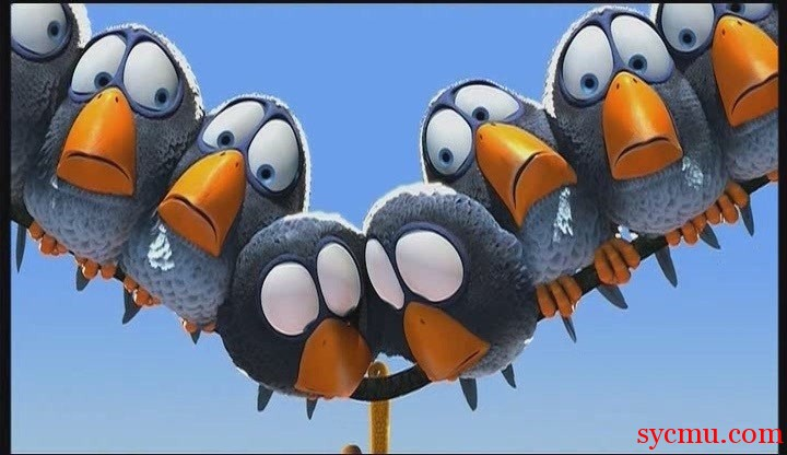 Birds huddled Pixar For the Birds power line
