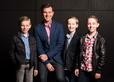 David Campbell with the talented young actors who will play the young Bobby Darin during the show's premiere Sydney season.