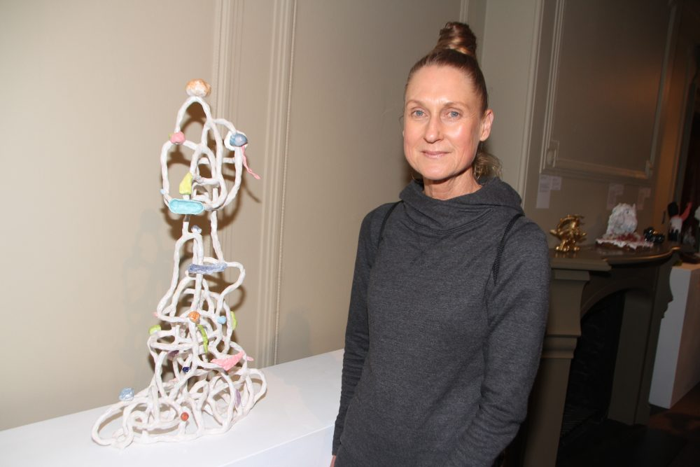 Lynda Draper with her work  'Apparition'.