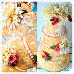 Gold_Lace_Fresh_Flowers_Collage_Wedding_Cake_Sydneys_Sweets
