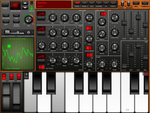 Yonac Magellan software synth for the iPad