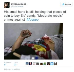 syrian child wounded by moderate terrorists