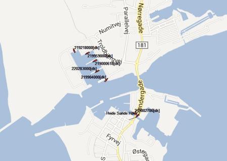 Empfang von Schiffen im Hafen von Hvide Sande (DK)