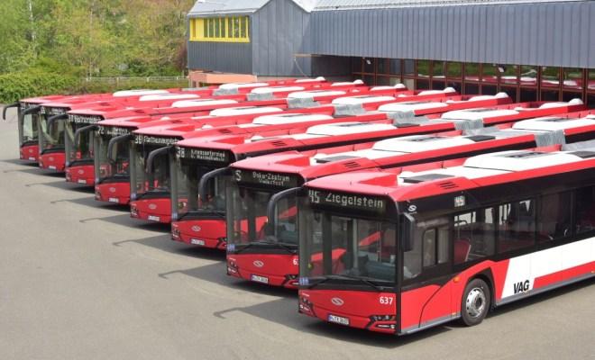 Osiem przegubowych Solarisów w Norymberdze