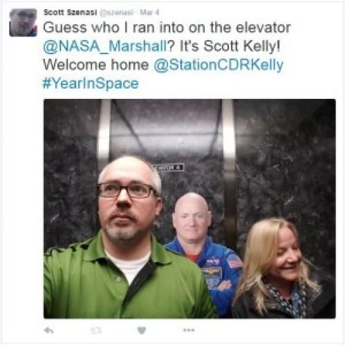 astronaut in elevator