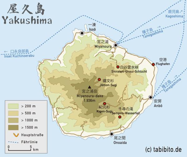 Karte der Insel Yakushima