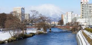 Blick von Morioka Richtung Iwatesan