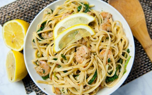 Spinach and Lemon Parmesan Shrimp Pasta