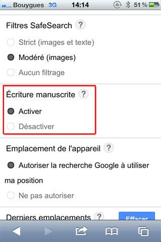 activer Google manuscrit