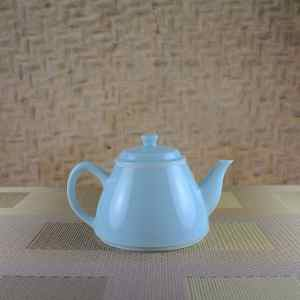 Fine-striped Milky Blue Teapot Side View