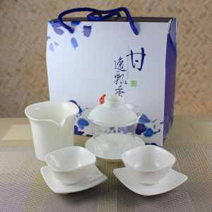 Glass Gaiwan tea Tasting Set for 2 with Square Cups-2
