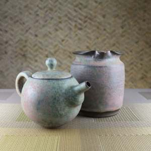 Moondust Grey Smaller Round Teapot and Tea Pitcher Set Front
