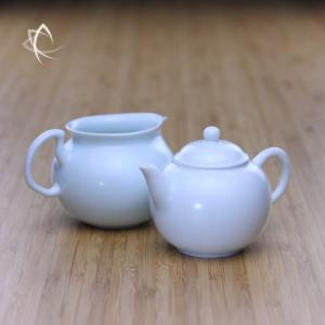 Satin Blue Gongfu Shui Ping Teapot with Gongfu Pitcher Featured ViewSatin Blue Gongfu Shui Ping Teapot with Gongfu Pitcher Featured View