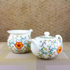Elegant Peony Teapot and Tea Pitcher Feature View