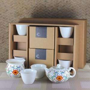 Elegant Peony Tea Set for Six with Tulip Tea Cups