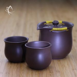 Purple Clay Easy Gaiwan and 2 Cup Set Feature View
