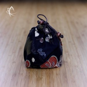 Teapot Pouch with Black Flower Print Featured View