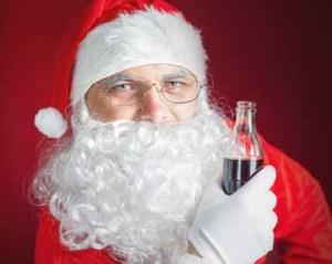 Santa drinking soda