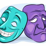 56290264 - illustration of a pair of masks depicting personality disorder