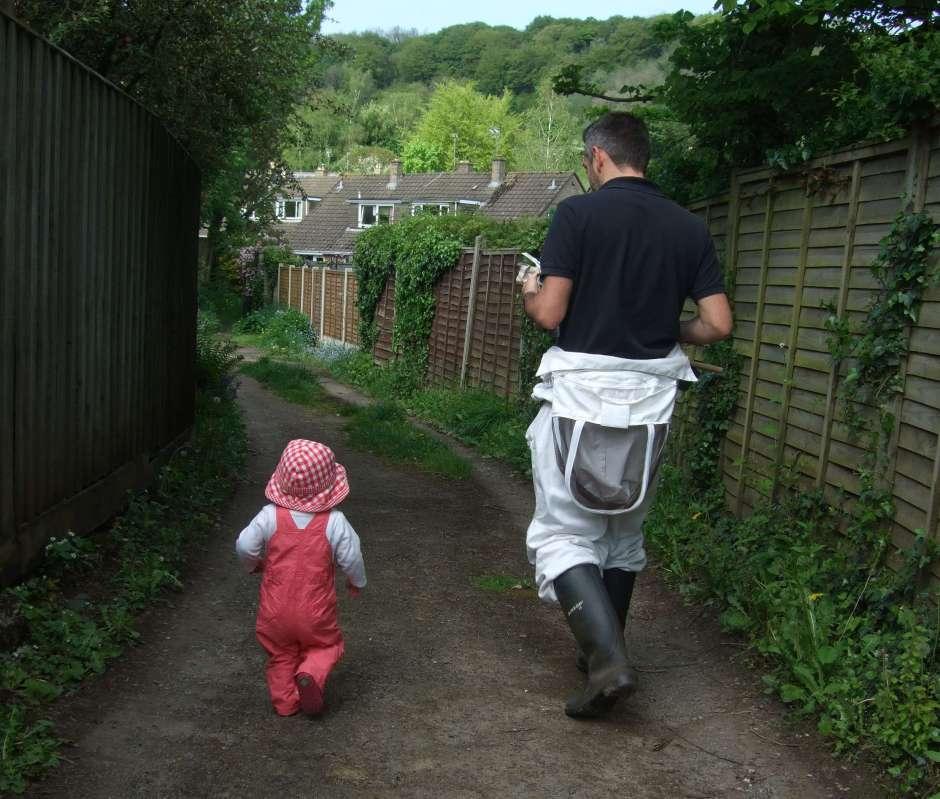 Me and an aspiring beekeeper