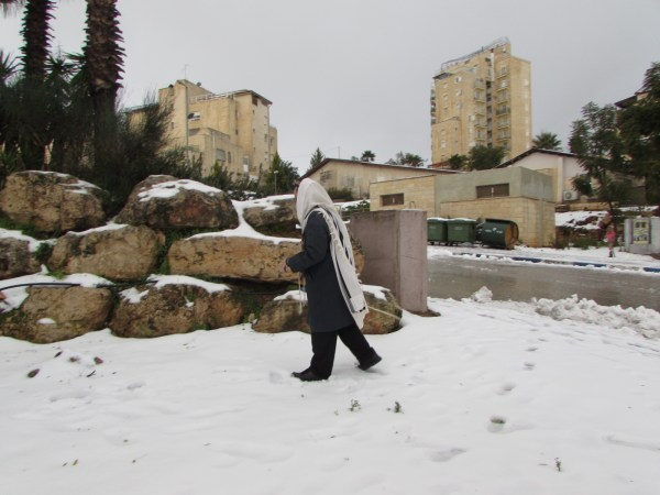Tallit-clad in snow 5775