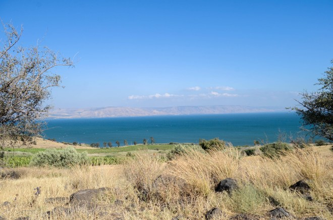 Overlooking the beautiful Sea of Galilee from a hill on the western side. Perhaps Jesus sat at a similar location when he spoke the the beautiful words of the Sermon on the Mount.