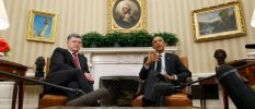 U.S. President Barack Obama and Ukraine's President Petro Poroshenko speak to the media at the end of a meeting in the Oval Office of the White House in Washington