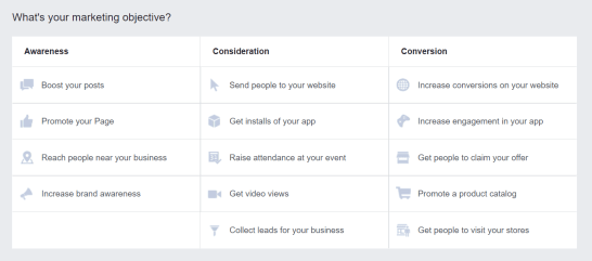 How to choose a Facebook ad objective
