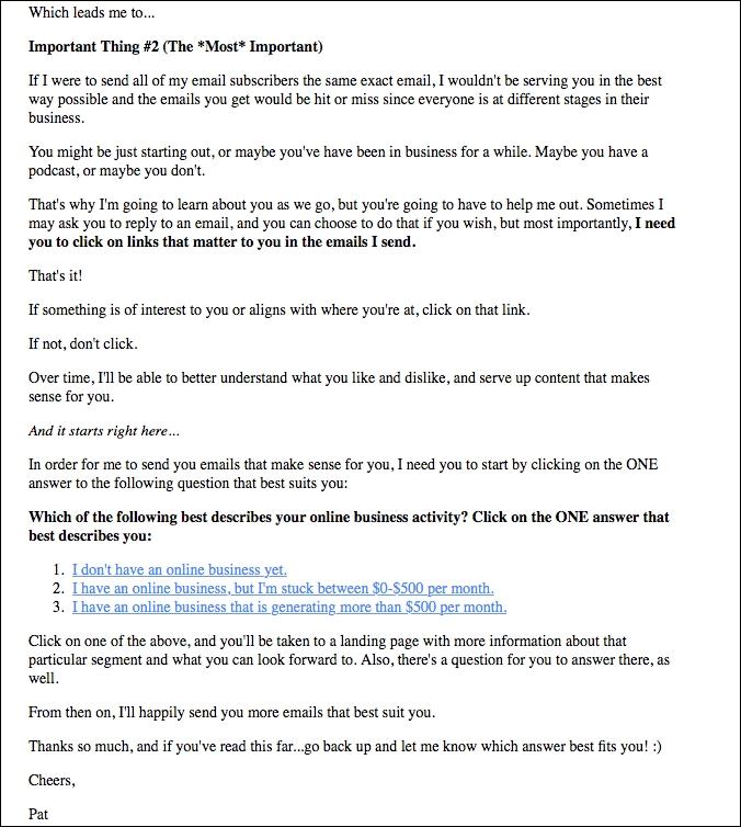 pat flynn customer relationship email
