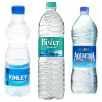 bisleri aquafina kinley india water