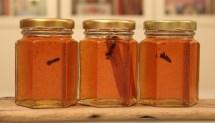 three jars of mulled apple jelly