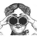 vintage image of woman with binoculars