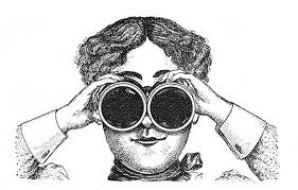 vintage image of woman with binoculars