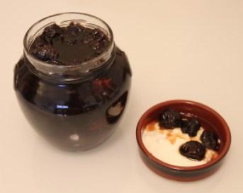 Disgracefully Drunken Prunes in a large glass jar