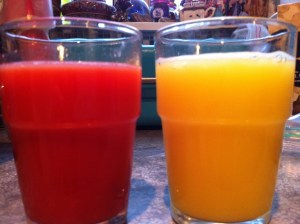 Comparison of blood and regular orange juices.