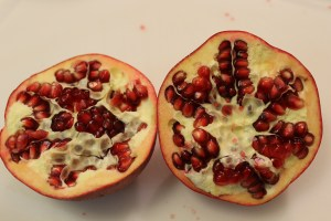 An excellent pomegranate. The seeds are bright, red, and juicy. The membrane is firm and a nice creamy color.